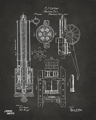 1862 Gatling Gun Patent Artwork - Gray Art Print