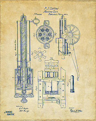 Vet Digital Art - 1862 Gatling Gun Patent Artwork - Vintage by Nikki Marie Smith