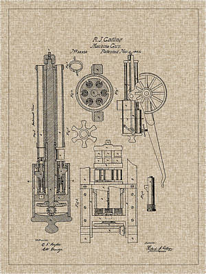 Inventor Photograph - 1862 Gatling Machine Gun Patent by Barry Jones