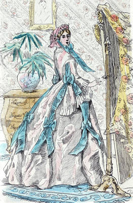1863, Womens Fashion In Nineteenth-century Paris Art Print