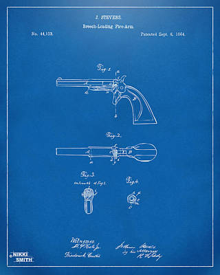 1864 Breech Loading Pistol Patent Artwork - Blueprint Art Print by Nikki Marie Smith