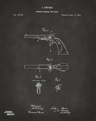 1864 Breech Loading Pistol Patent Artwork - Gray Art Print