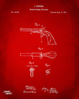 1864 Breech Loading Pistol Patent Artwork - Red Art Print by Nikki Marie Smith