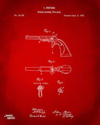 Breach Digital Art - 1864 Breech Loading Pistol Patent Artwork - Red by Nikki Marie Smith