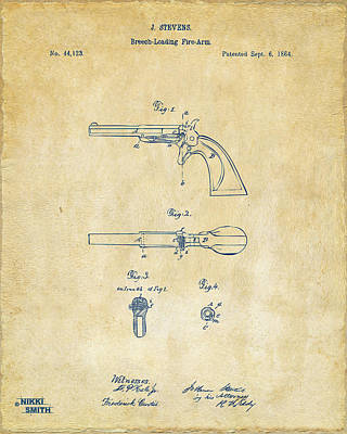 1864 Breech Loading Pistol Patent Artwork - Vintage Art Print by Nikki Marie Smith