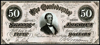 Painting - 1864 Confederate Fifty Dollar Note by Historic Image