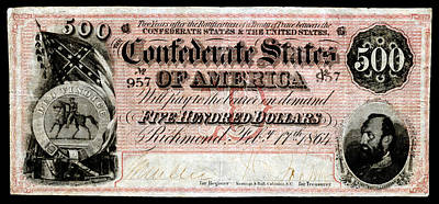 Painting - 1864 Confederate Five Hundred Dollar Note by Historic Image