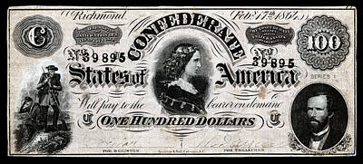 Painting - 1864 Confederate One Hundred Dollar Note by Historic Image
