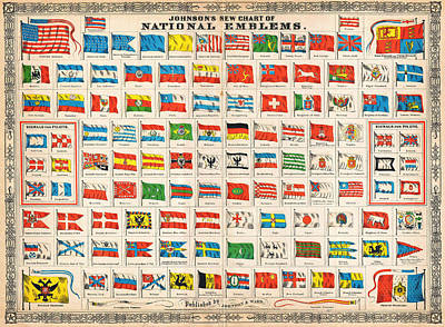 Chart Painting - 1864 Johnson Chart Of The Flags And National Emblems Of The World by Celestial Images