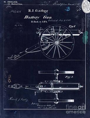 Memorabilia Photograph - 1865 Gatling Battery Gun Patent Drawing Blue by Jon Neidert