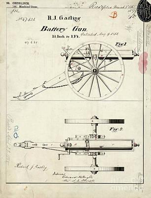 1865 Gatling Battery Gun Patent Drawing Art Print by Jon Neidert