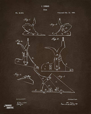 Drawing - 1865 John Deere Plow Patent Espresso by Nikki Marie Smith