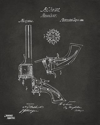 1866 Christ Revolver Patent Artwork - Gray Print by Nikki Marie Smith