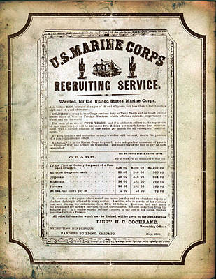 Marine Digital Art - 1866 Recruiting Poster Reproduction by Annette Redman