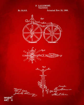 Drawing - 1866 Velocipede Bicycle Patent Artwork Red by Nikki Marie Smith