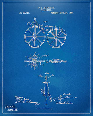 Power Digital Art - 1866 Velocipede Bicycle Patent Blueprint by Nikki Marie Smith