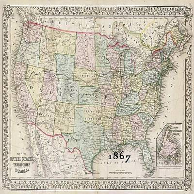 Photograph - 1867 Map Of America by Florene Welebny