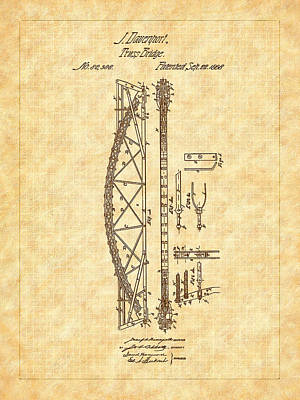 Drawing - 1868 Davenport Truss Bridge Patent by Barry Jones