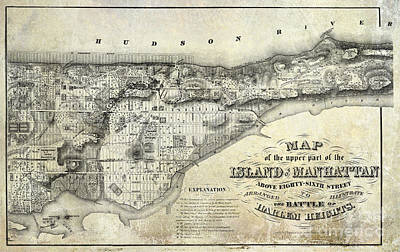 1868 Map Of Manhattan Art Print by Jon Neidert