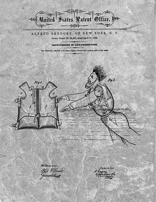 Dock Drawing - 1869 Life Preserver Patent Charcoal by Dan Sproul