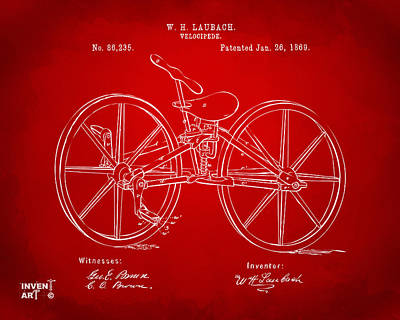 Drawing - 1869 Velocipede Bicycle Patent Artwork Red by Nikki Marie Smith