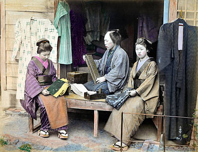 Photograph - 1870 Fabric Dealer Of Japan by Historic Image