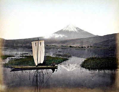 Photograph - 1870 Fisherman And Mount Fuji Japan by Historic Image
