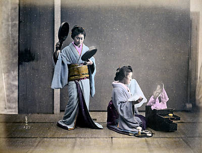 Photograph - 1870 Geisha Girls Dressing Room by Historic Image