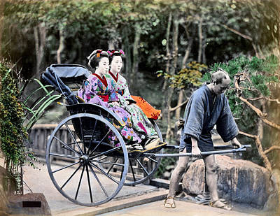 Photograph - 1870 Geisha Girls Traveling In Rickshaw by Historic Image