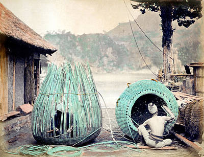 Photograph - 1870 Japanese Basket Weavers by Historic Image