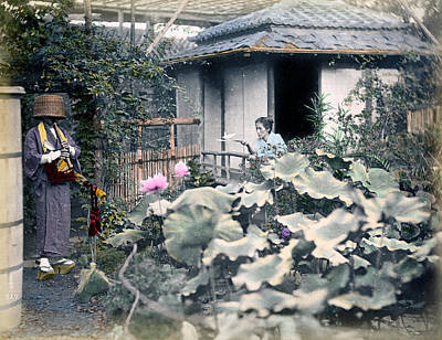 Photograph - 1870 Japanese Garden Scene by Historic Image