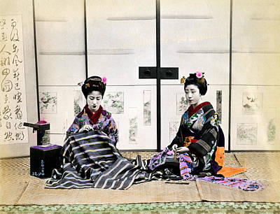 Photograph - 1870 Japanese Geisha In Drawing Room by Historic Image