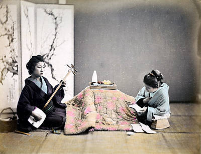 Photograph - 1870 Japanese Geisha Relaxing by Historic Image