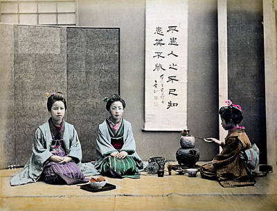 Photograph - 1870 Japanese Geisha Serving Tea by Historic Image