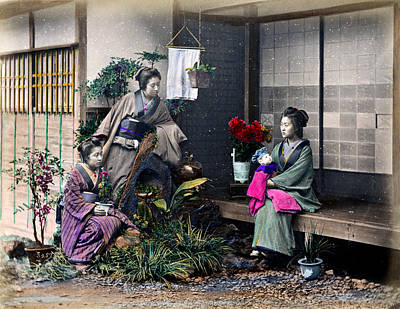 Photograph - 1870 Japanese Ladies Visit New Mother by Historic Image
