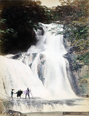 Photograph - 1870 Japanese Men At Waterfall Of Nikko Japan by Historic Image