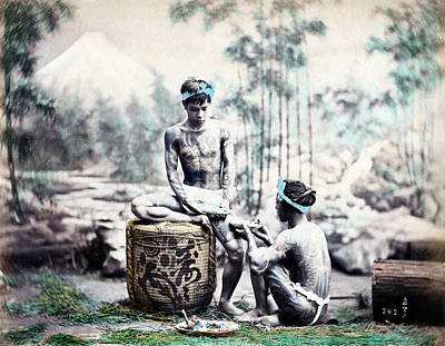 Photograph - 1870 Japanese Sake Drinkers by Historic Image
