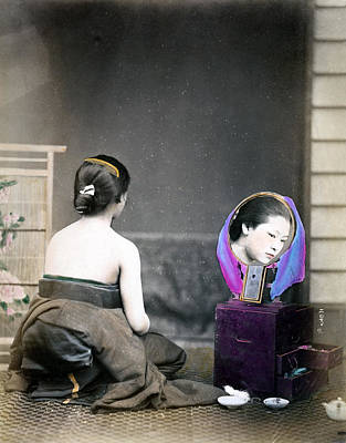 Photograph - 1870 Japanese Woman In Her Dressing Room by Historic Image
