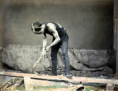 Photograph - 1870 Tattooed Japanese Woodworker  by Historic Image