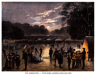 Party Scene Painting - 1870 The Serpentine Of London England by Historic Image