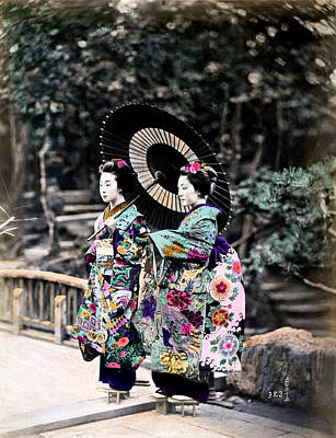 Photograph - 1870 Two Geisha Girls Under Umbrella by Historic Image