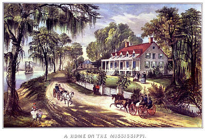 Horse And Buggy Painting - 1870s 1800s A Home On The Mississippi - by Vintage Images