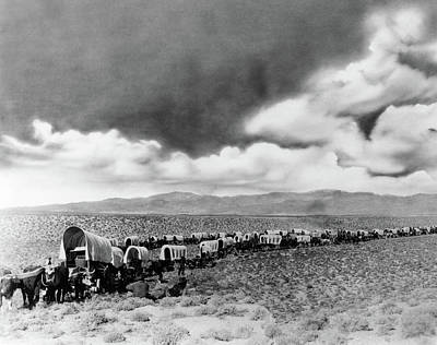 1870s 1880s Montage Of Covered Wagons Art Print