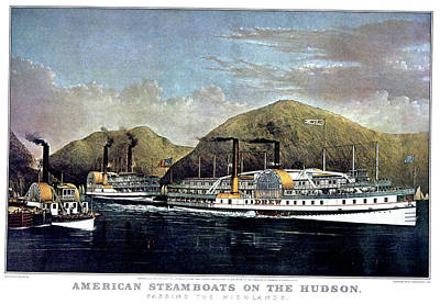 Steamboat Painting - 1870s American Steamboats On The Hudson by Vintage Images