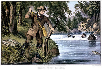 Reward Painting - 1870s Brook Trout Fishing - Currier & by Vintage Images