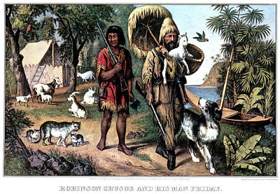 Dugouts Painting - 1870s Robinson Crusoe And His Man by Vintage Images