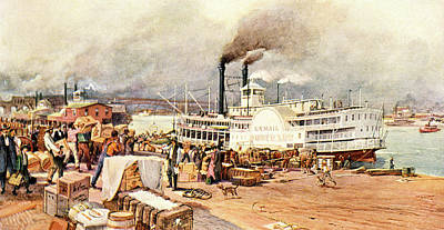 Paddle Wheel Painting - 1870s St. Louis Missouri Mississippi by Vintage Images