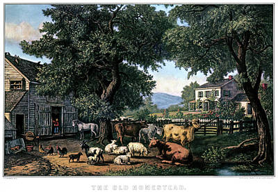 White Picket Fence Painting - 1870s The Old Homestead - Painting By F by Vintage Images