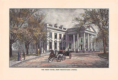 Reconstruction Drawing - 1870's White House by Charles Somerville