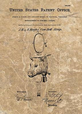 Cow Mixed Media - 1871 Cow Bell Strap Patent by Dan Sproul